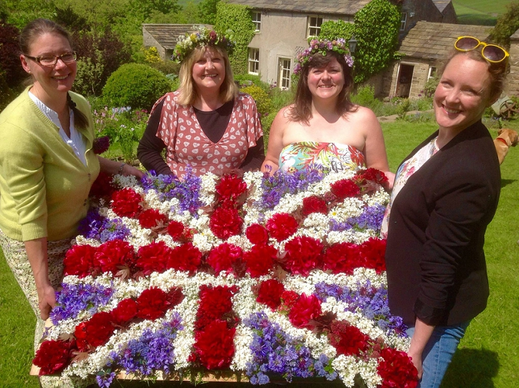 Left to right: Susanne Loweth of Beamsley Blooms, Beamsley, Susan Dobson of The Yorkshire Dales Flower Company, Bradley, Rachel Slater of Owl House Flowers, Bingley and Jane Tucker of The Flower Fields at Field Head Farm, West Morton with their Union Jack floral design to mark British Flowers Week.