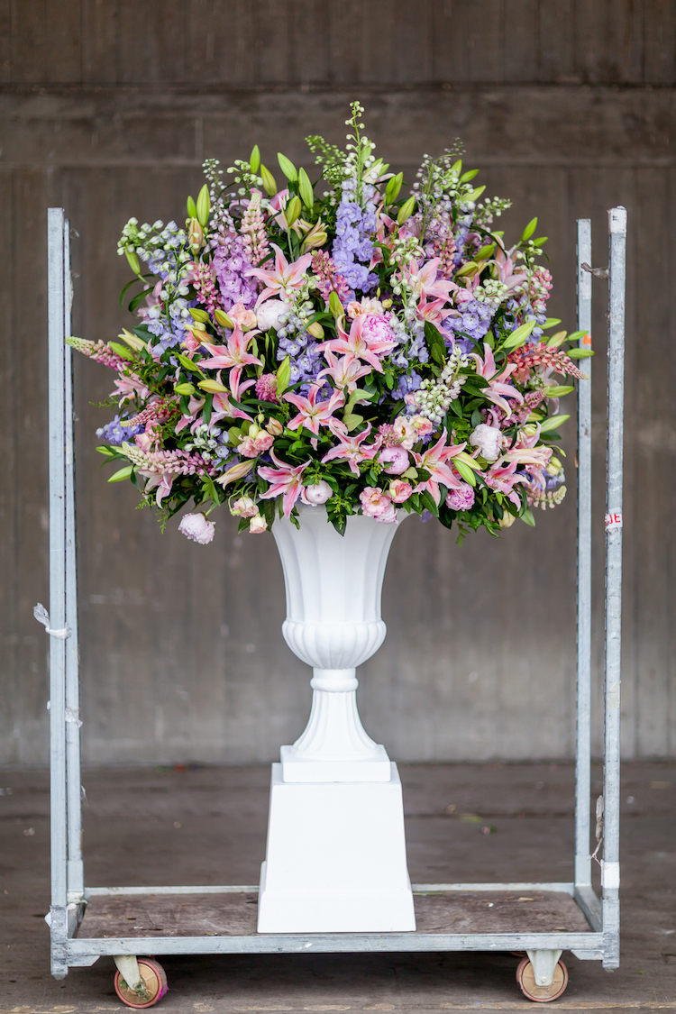 Day 1 British Flowers Week 2016, a stunning urn created by Phillip Hammond of The Dorchester, presented to you by New Covent Garden Flower Market