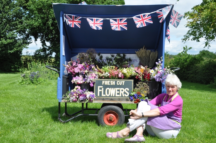 British Flowers Week 2016, featuring Gill Hodgson of Field House Flowers beside her British Market Stand, presented to you by New Covent Garden Flower Market