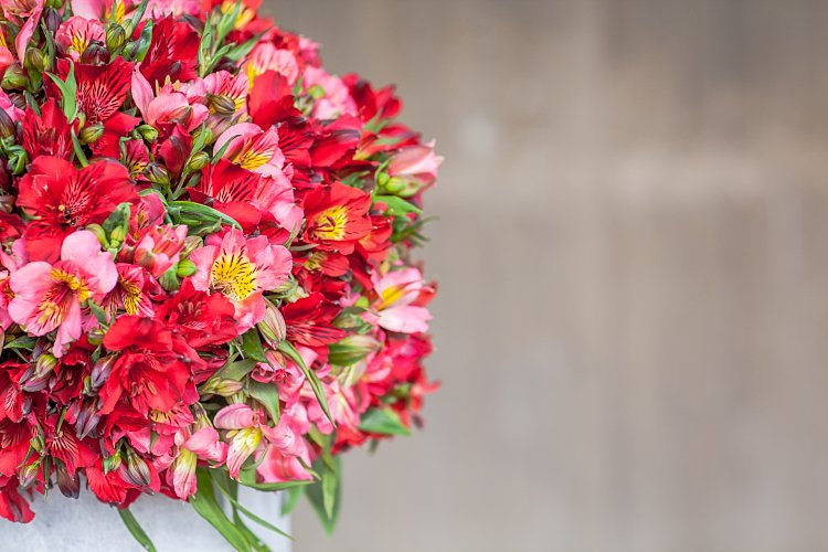 Day 5 of British Flowers Week, featuring a vase complete with red and pink alstroemeria , designed by Rob Van Helden of Rob Van Helden Floral Designs, presented to you by New Covent Garden Flower Market