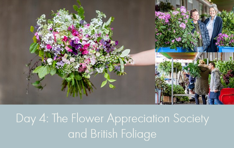 Day 4 of British Flowers Week, featuring designs by Anna Day & Ellie Jauncey of The Flower Appreciation Society using British foliage, presented to you by New Covent Garden Flower Market