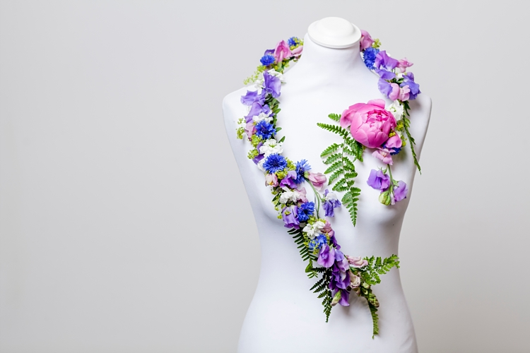 Mary Jane Vaughan sculptural necklace for British Flowers Week 2017 by New Covent Garden Flower Market