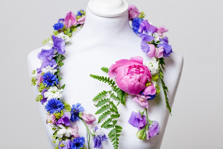 Close up of Mary Jane Vaughan sculptural necklace for British Flowers Week 2017 by New Covent Garden Flower Market