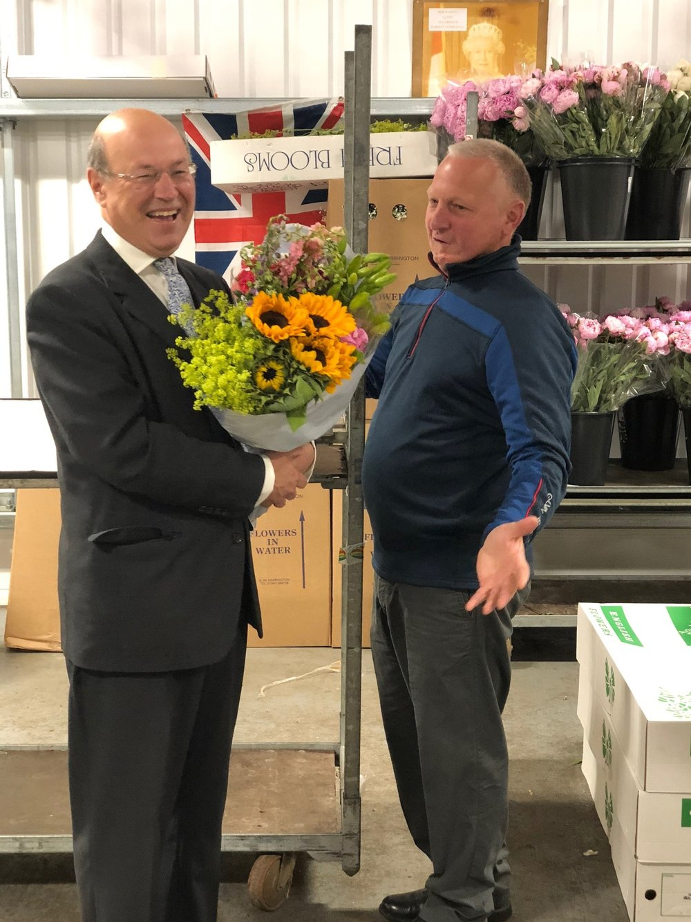 Lord Gardiner with Mick Waite at Pratley Flowers and Plants.