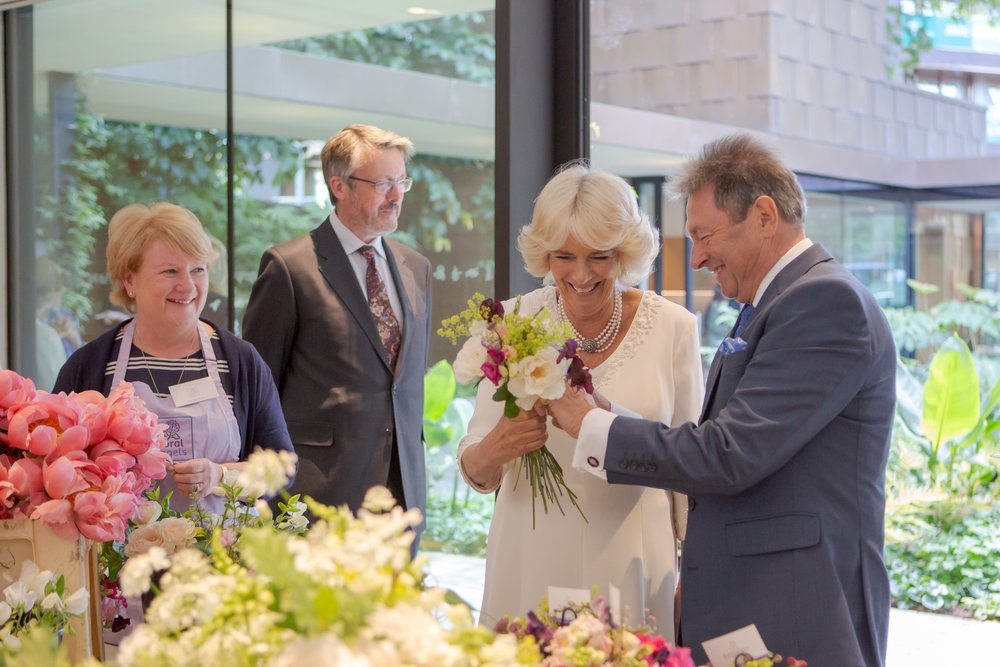 The Duchess made a posy with members of Floral Angels. Photo: Garden Museum/Graham Lacdao