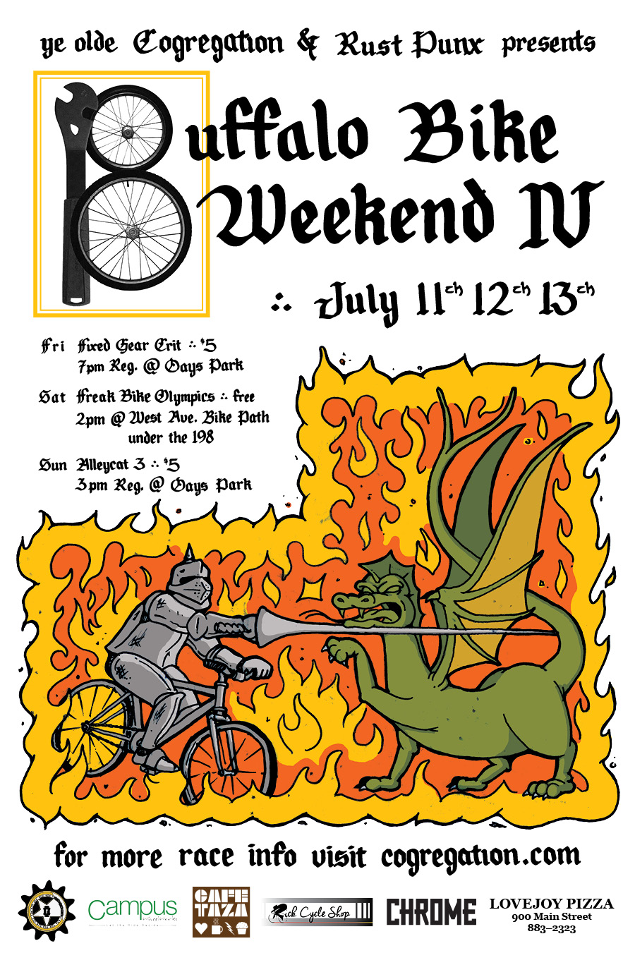 Flyer design for the 4th annual Buffalo Bike Weekend. All elements of this poster were hand drawn then laid out on the computer. Click to see some of my process sketches and more.