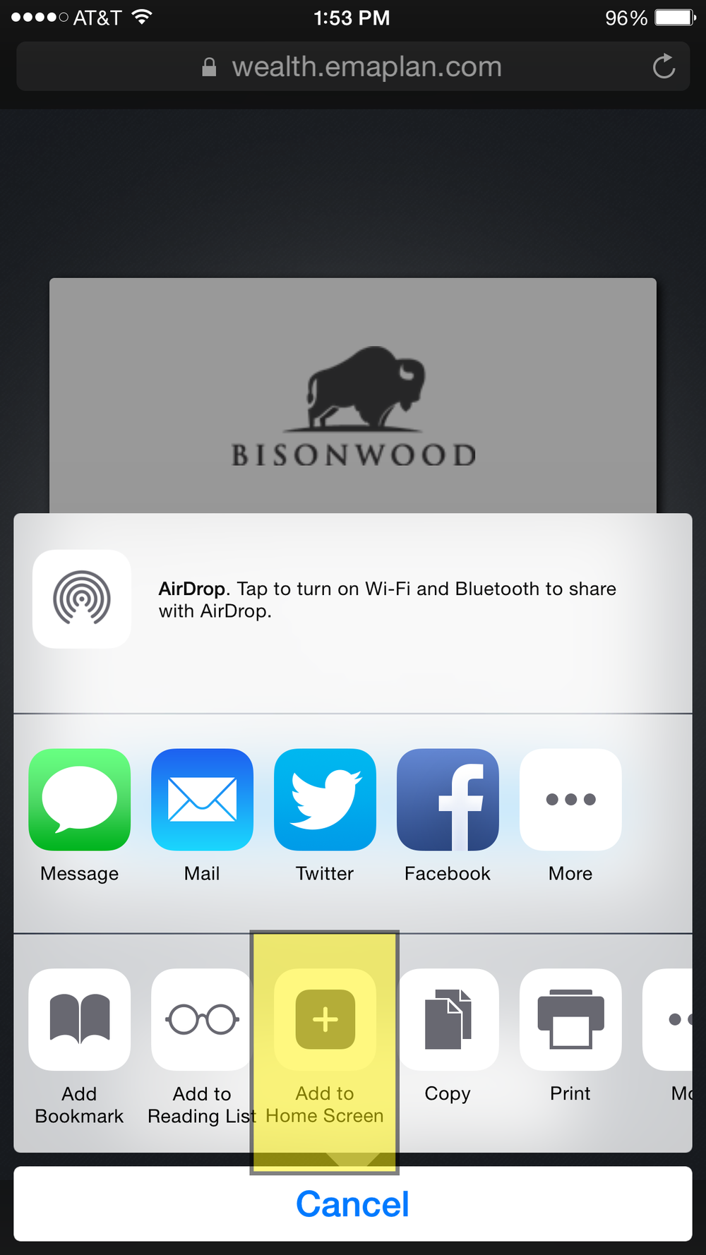 Click the 'Add to Home Screen' button, which is a square with a little plus inside of it.