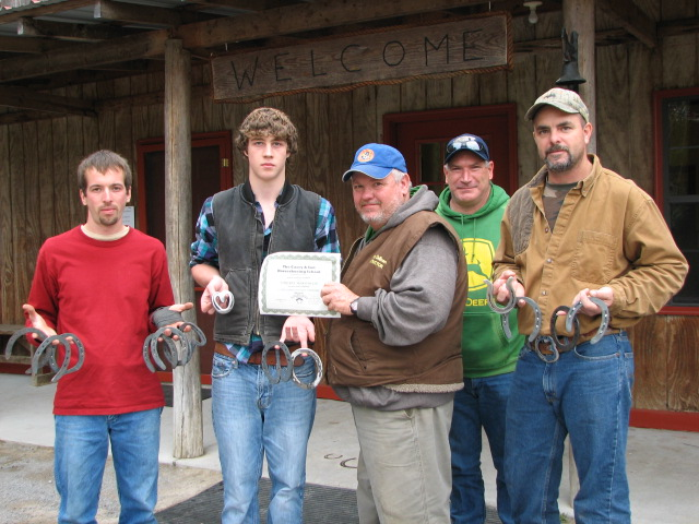 Peter Hostetler of North Carolina, Timothy McDonough of Kansas, Ronney DeBoard, Forge Instructor and Rob Stover of Maryland.