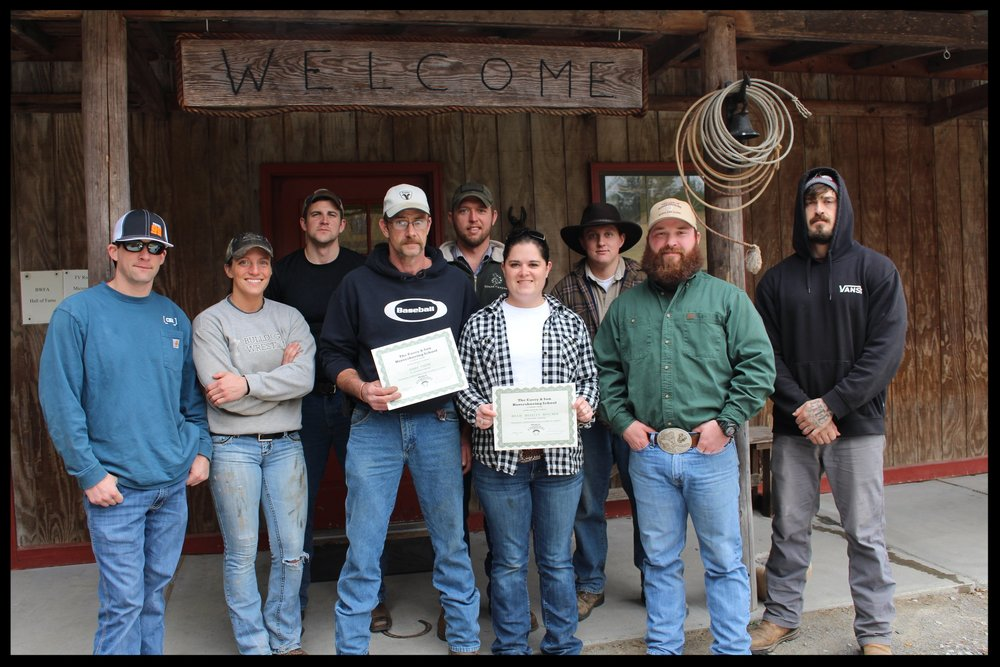 Casey & Son Horseshoeing School group with  farrier graduates Jerry Smith & Rhaeyln Boycher,  with Link Casey, Owner 1.27.18