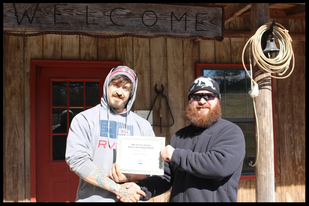 Adam Ureche,  Army Veteran, 2018 Farrier graduate of 18 weeks at Georgia's Horseshoeing School and Farriers' National Research Center with Link Casey.JPG