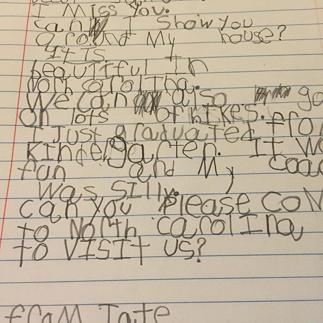 In which Tate writes his best friend in Massachusetts a letter. Sweet boy. #penpals