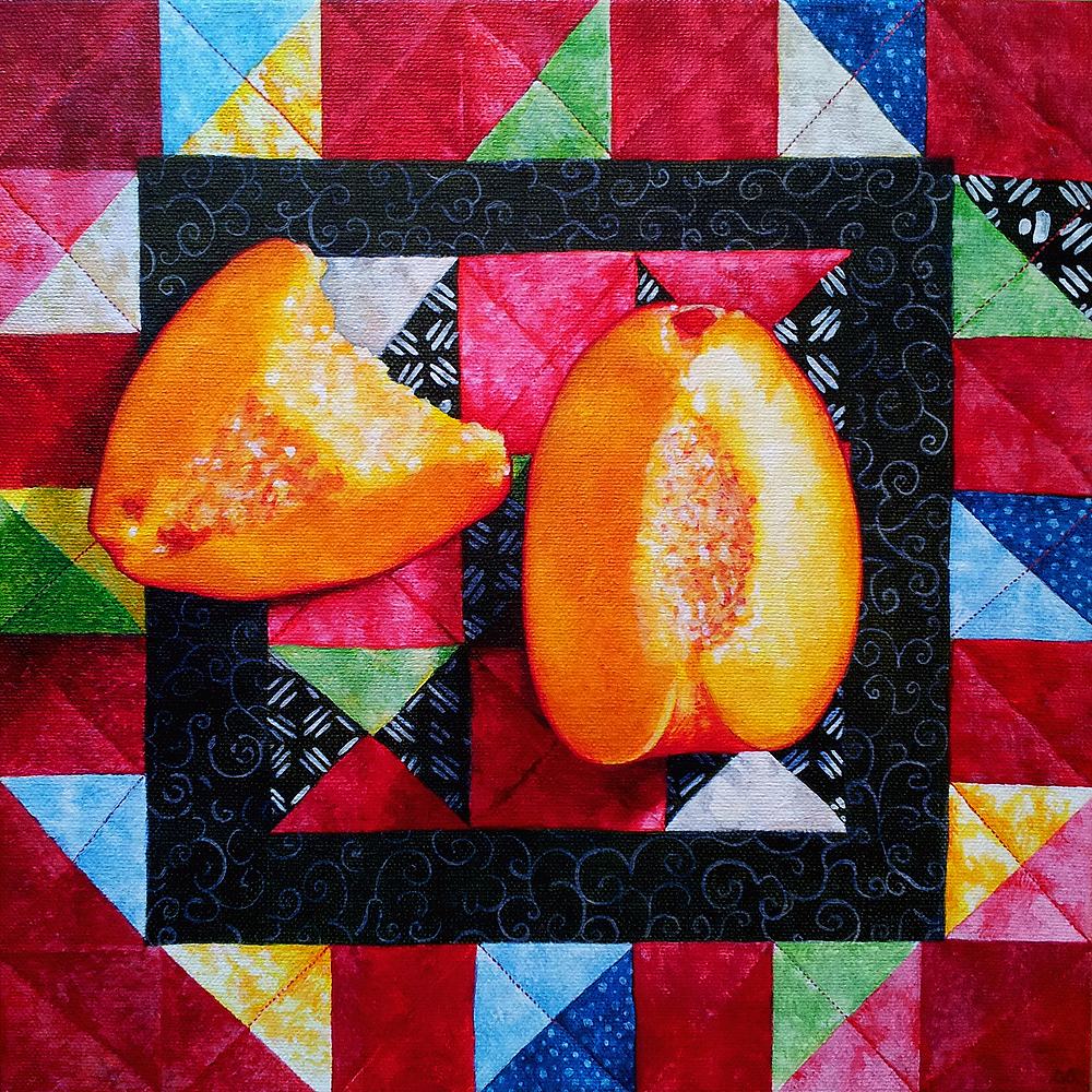 "Peaches & Quilt by Sarah Atlee - Acrylic on canvas, 12"" x 12"""