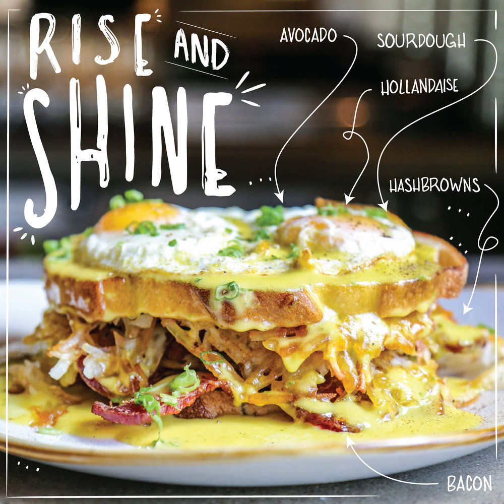 Happiest Hour's super stacked Rise & Shine Sandwich is a best seller on the #ButFirstBrunch menu.