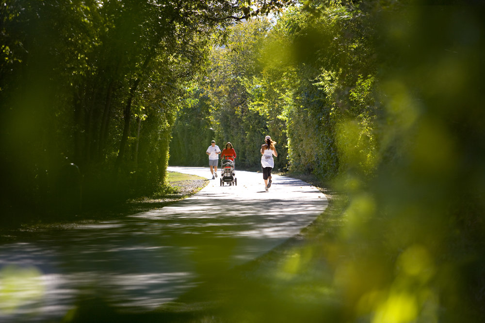 7:30 a.m.  leash up the pup and head down to the Katy Trail. Enjoy a jog under the tree canopy on the three mile trail that travels through the Dallas neighborhoods.