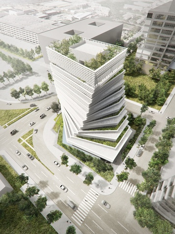 The new Rolex building will have a Japanese-inspired tiered garden with cascading waterfalls spilling over the sides.