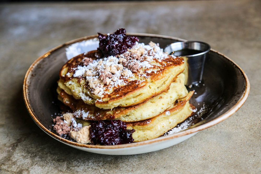 Happiest Hour's fan favorite and super stacked Ricotta Pancakes. Served Sundays only during #ButFirstBrunch.