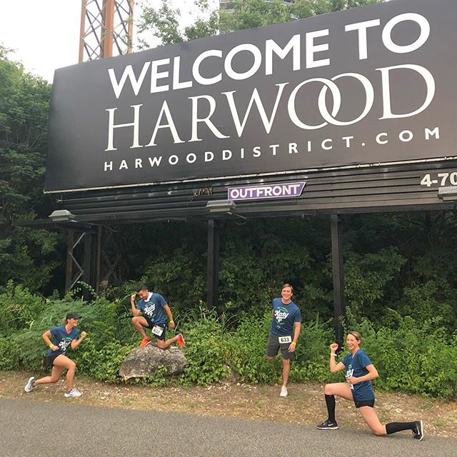 The #harwooddistrict team kick started the weekend at the @katytraildallas 5k last night! Be sure to strike a pose with our new billboard located conveniently on the trail. 🏃🏻