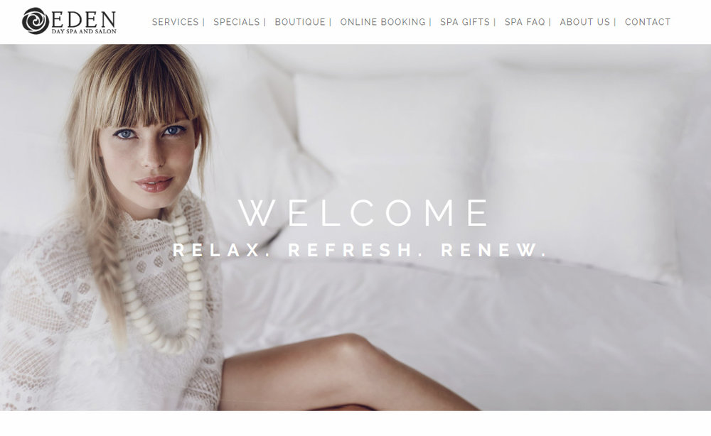 New Eden Day Spa and Salon Squarespace website!   To view more websites  -  click here  |  To view branding & logo designs  -  click here