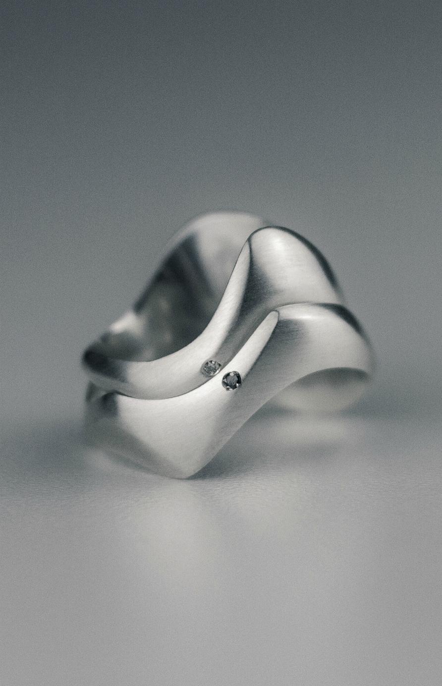 Joia Emocional Slow Aliança de Compromisso Prata Diamante Exclusiva Personalizada Lyz Beltrame