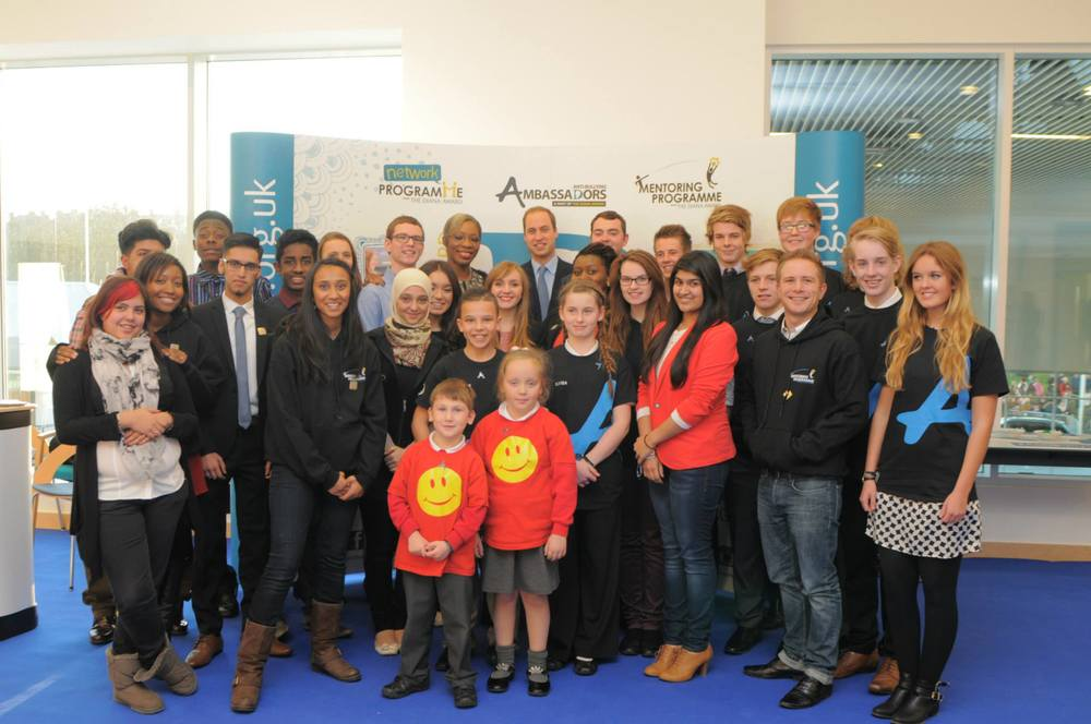 Group photo taken to commemorate Diana Award 'Inspire Day'. Kavi, Chloe and HRH Prince William are all on the back row