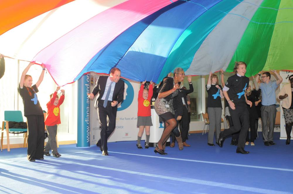 "Chloe and Prince William stood together at one point during the parachute game. Chloe:  ""It was really strange to be standing next to Prince William whilst playing a party game."""