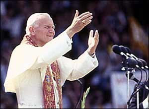 Photo: Pope John Paul II waves goodbye to the UK, 1982. Notice this photo is the inspiration for the John Paul II Foundation for Sport logo