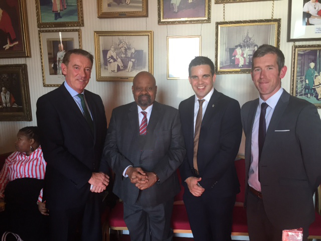 Photo: LEFT TO RIGHT: David Geldart, South African High Commissioner to the UK, Mr Thembinkosi Obed Mlaba, Rob Wadsworth, Andy Lockwood.