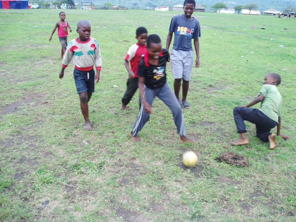 Photo: Playing football in 2006 taken by David Geldart when he first visited Nkandla