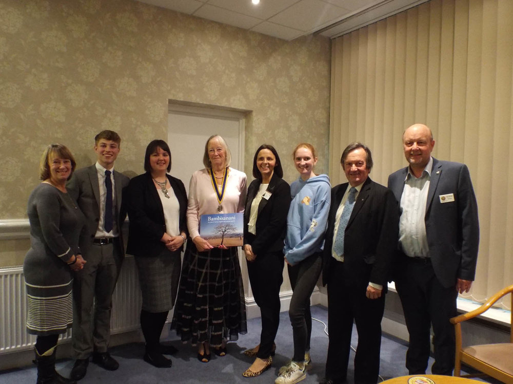 Photo: Janet Kerr, Ewan Copsey, Charlotte Wood, Heather Read (President of Aireborough Rotary), Catherine Chattoe, Pauline Hall, Bill Hudson and Graham Davies.