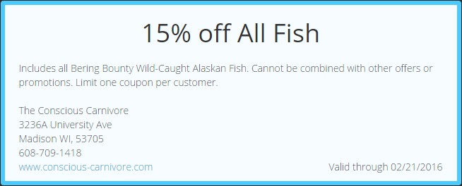 Print off this coupon or bring it in on your mobile phone to save 15% on all fish.