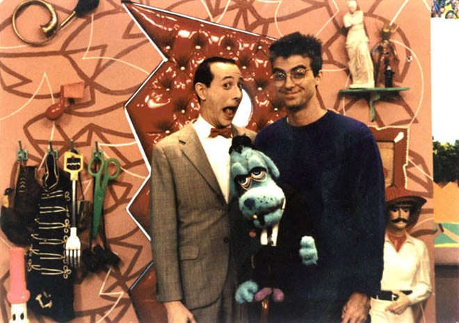 Pee Wee Herman (left) and Wayne White (right) on the set of Pee Wee's Playhouse