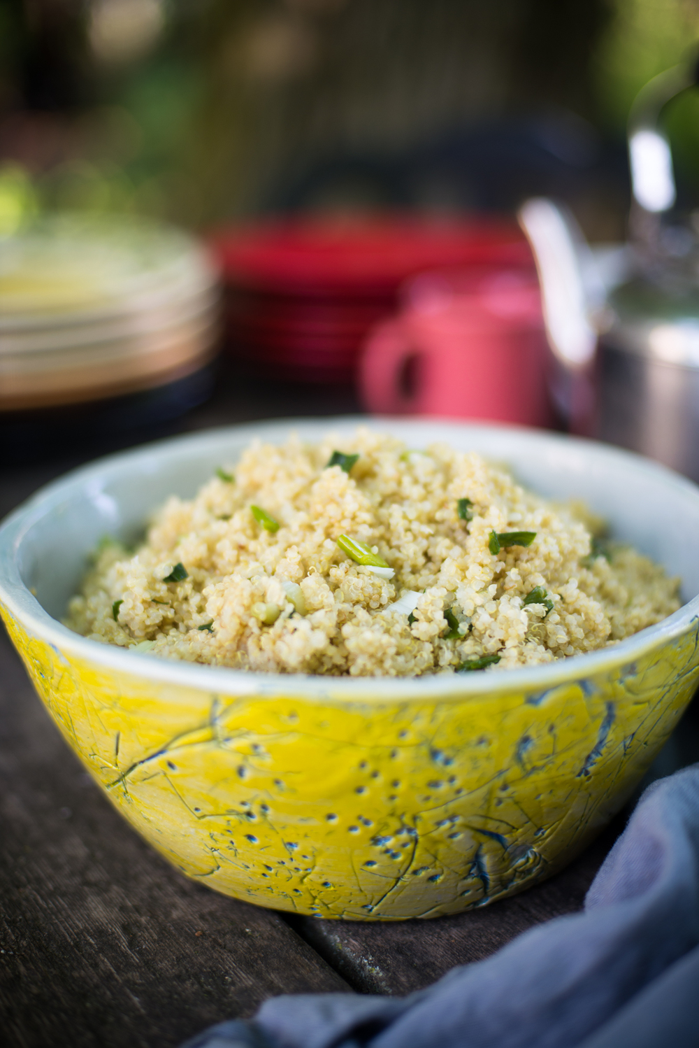 Quinoa pilaf with sauteed scallions in a handmade ceramic bowl by my friend John Grissafi.  He pressed cilantro buds and stems into the sides of the bowl to make the blue pattern.