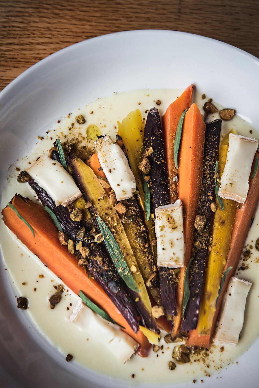 Grilled Carrots with Tellegio Sauce and Terragon