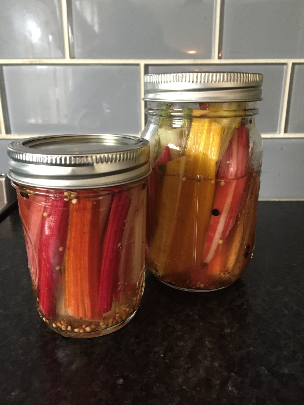 Spicy Pickled Chard Stems.  Click here for the recipe.