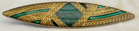 emerald green brooch pin