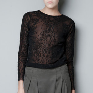zara SHEER LONG-SLEEVE TOP