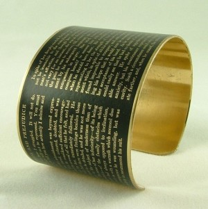 Jane Austen Pride and Prejudice Literary Brass Bracelet Cuff in Black