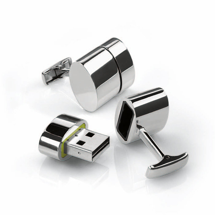 Polished Oval WiFi:2GB USB Cufflinks