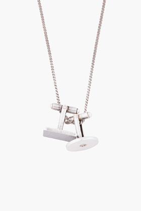 ssense silver cufflink necklace