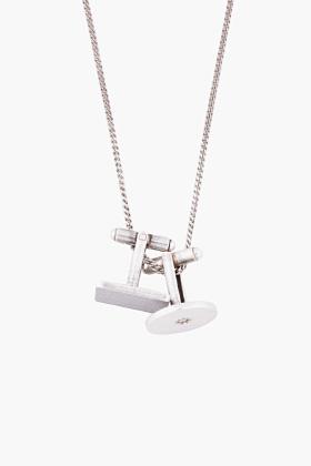 ssense silver cufflink necklace