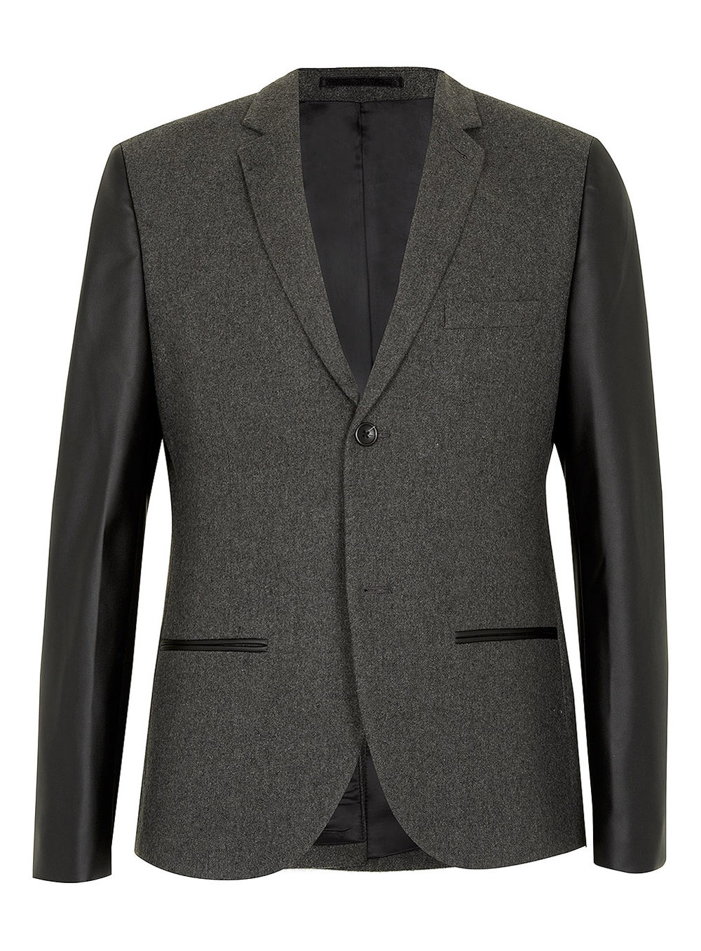 GREY HERITAGE FIT BLAZER WITH LEATHER LOOK SLEEVES