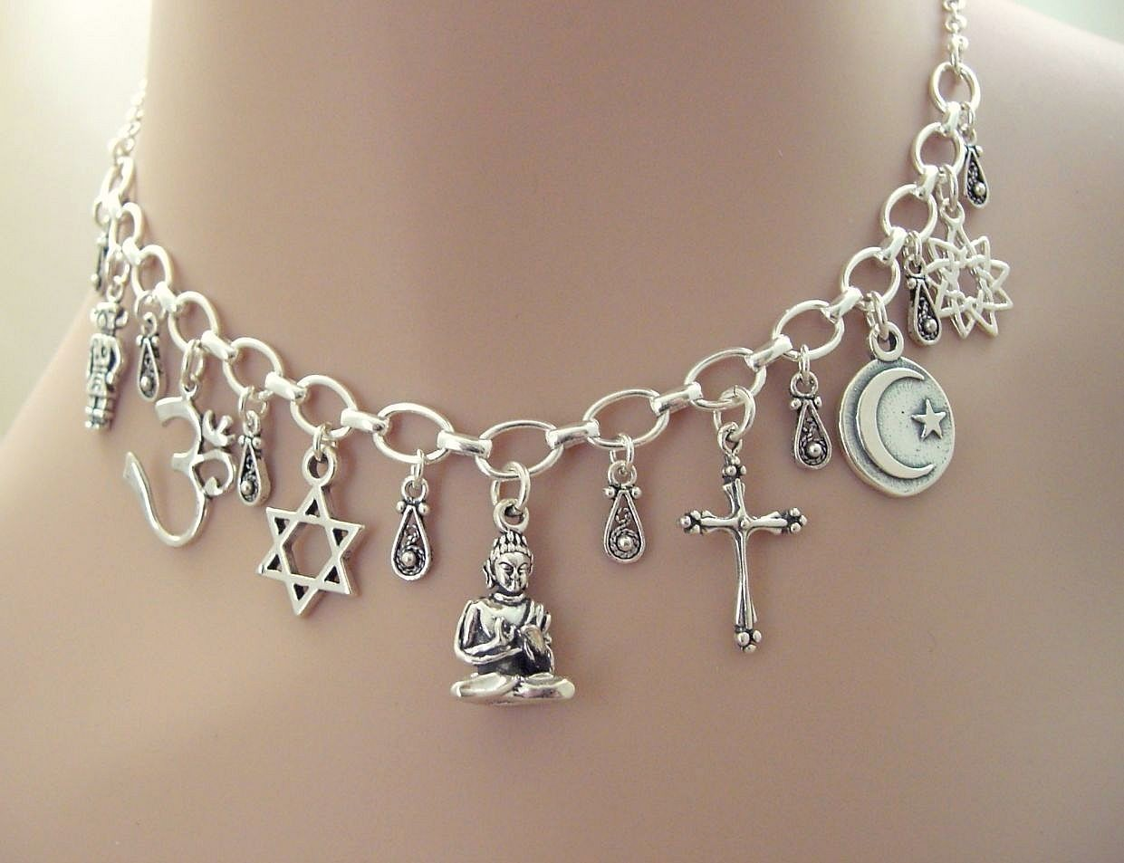 Interfaith Unity Sterling Silver Charm Necklace - Religious Symbols