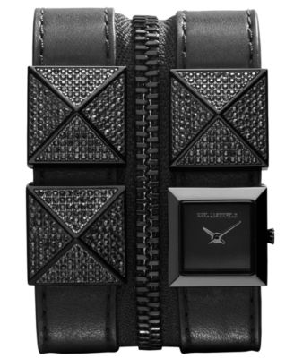 Karl Lagerfeld Watch, Women's Stainless Steel Stud and Black Leather Double Strap