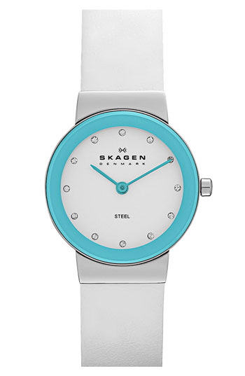Skagen Color Border Leather Strap Watch
