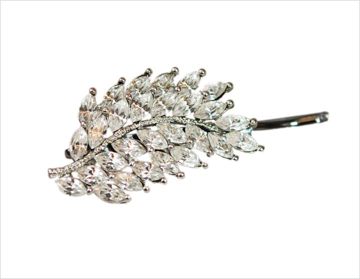 Leaf Pattern Crystal Bobby Pin