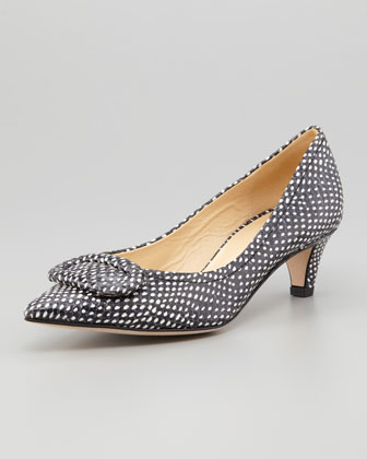 kate spade new york simon snake-print kitten-heel pump polka dot