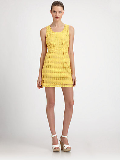 Laundry by Shelli Segal Laser-Cut Linen Dress