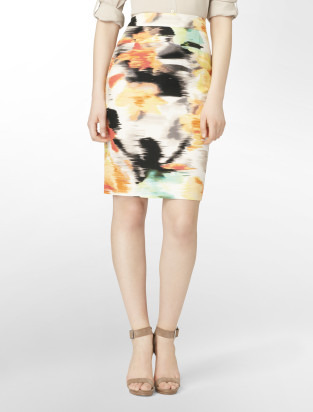 calvin klein printed linen pencil skirt