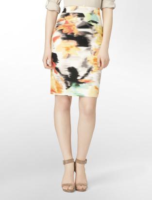 calvin klein printed linen pencil skirt