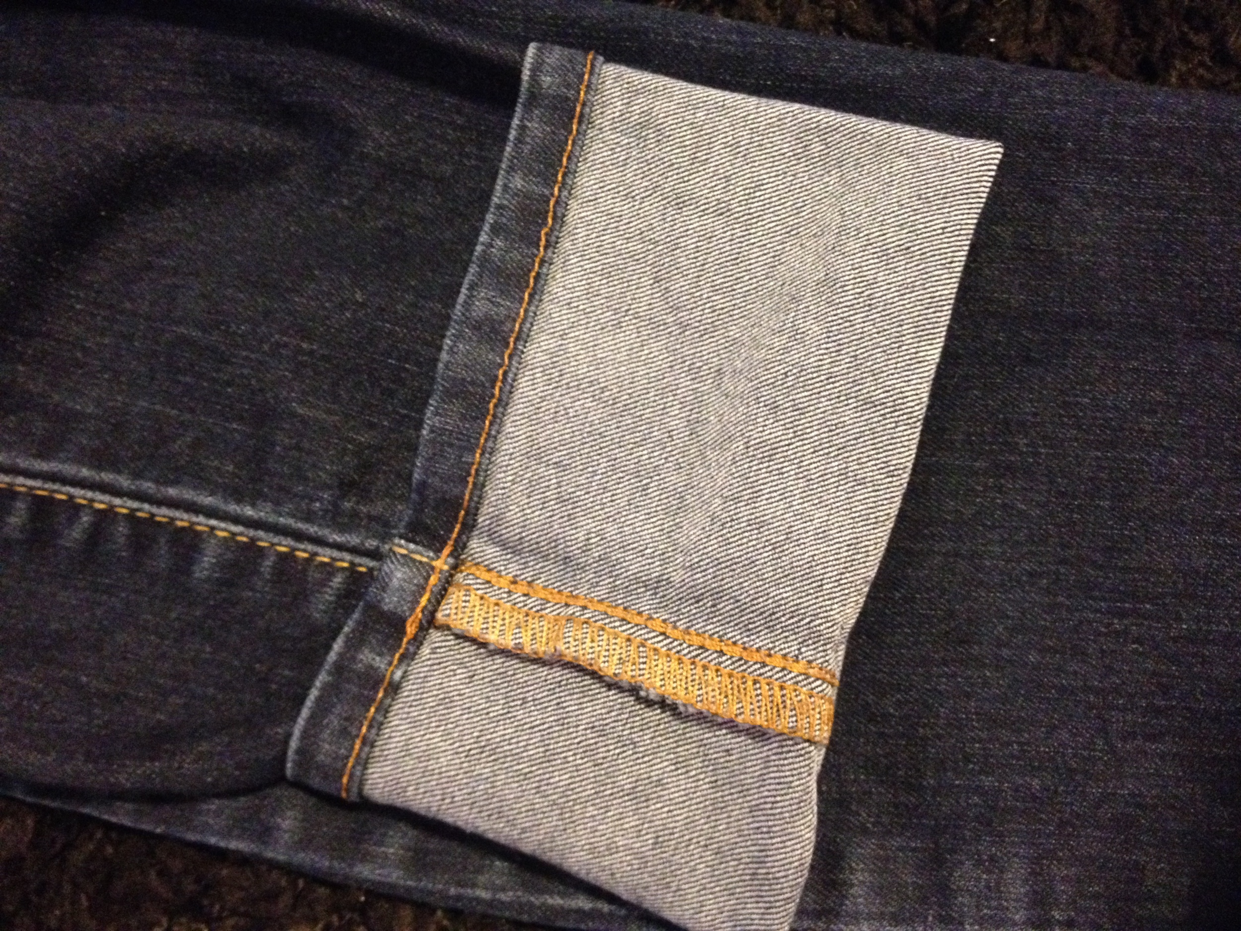Common stitch on mass produced denim